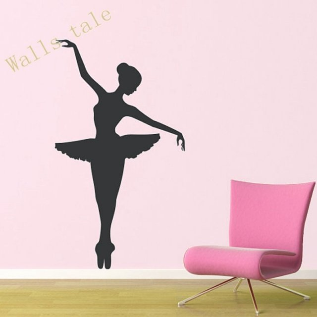 Ballerina Wall Decal – Dancer Dancing Ballet Vinyl Wall Decal Graphic Stickers Large size free shipping A2058
