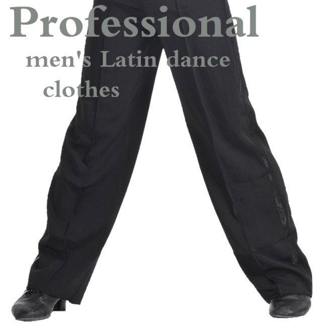 Black Satin Boys or Men Latin Modern Ballroom Performance Dance Pants