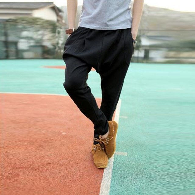Men Harem Pants Baggy Hip Hop Dance Sweat Pants Solid Color Casual Trousers Slacks