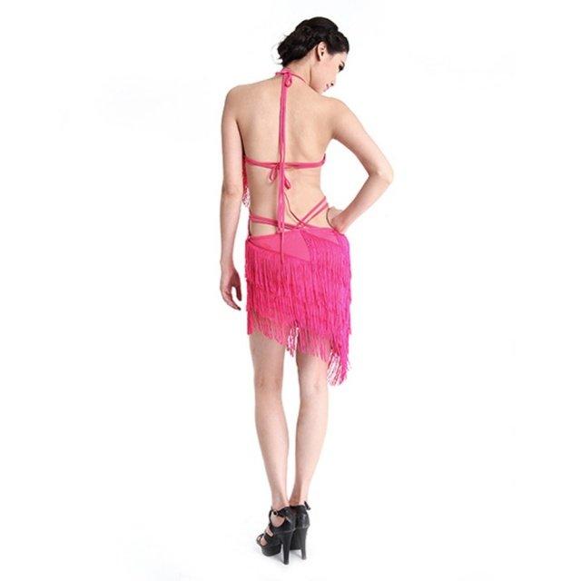 Women Dance Dress Latin Salsa Tango Cha cha Ballroom Competition Tassels Belly Backless Dresses