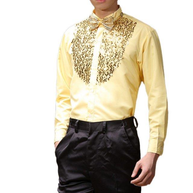 Mens Latin Dance Costumes Cotton Blend Sequin Shirt Long-sleeved Male Ballroom Dance Dresses Modern Tango Rumba Dancing Clothing