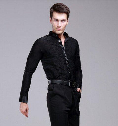 Hot Sale New Plus Size Black Waltz Latin Dance Top Men Latin Dance Shirts Men Ballroom Dance Shirt