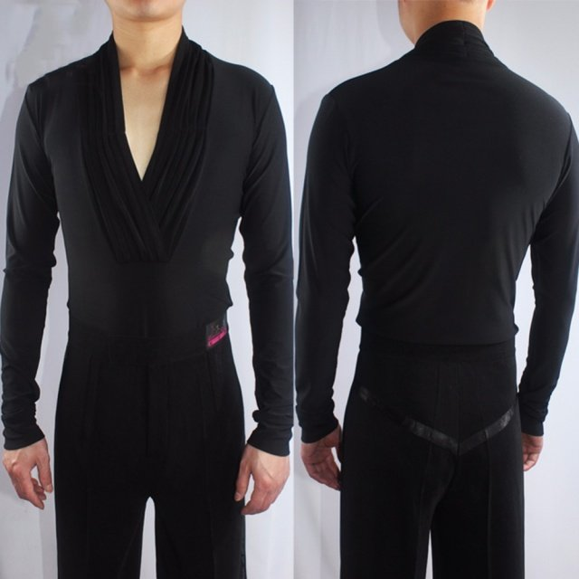 Sexy Latin Dance Shirts For Males More Colors Crystal Cotton Tops Men Showing Wears Adult Ballroom Exercise Clothes Shirts Q7043