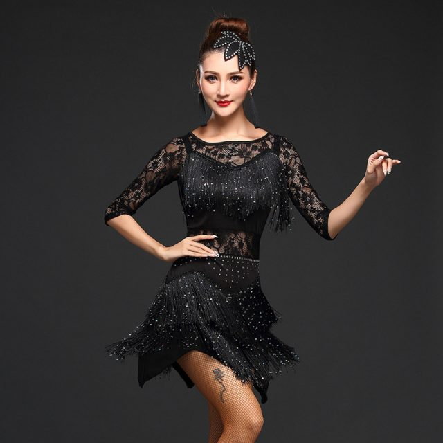 Competition Dance Clothes Sequins Costume Set with Sleeves Fringe Salsa Dresses Ballroom Dance Latin Dress
