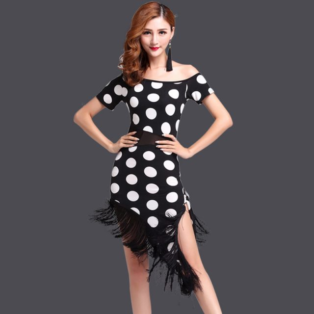 Tasseled Dots Print Latin Salsa Competition Dancing Dress Costume 2 Pieces Set Dot Pattern Ballroom