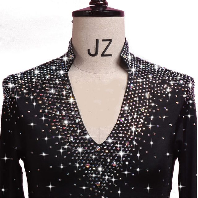 Latin Dance Shirts Men Long Sleeve V Neck Sequin Middle East Diamond Tops Ballroom Shirt Competition