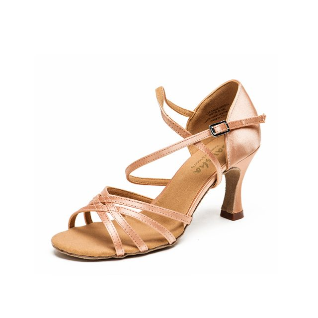 Sansha Light Tan Black Satin Latin Dancing Shoes Women's Professional Salsa Ballroom Tango Dancing Shoes