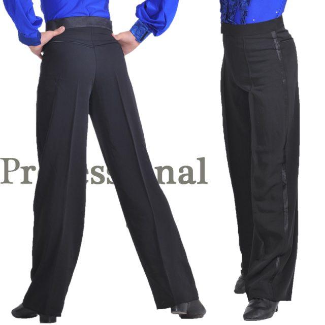Professional Boys Modern Ballroom Salsa Tango Rumba Samba Cha Cha Latin Dance Pants Black Dance Trousers For Men