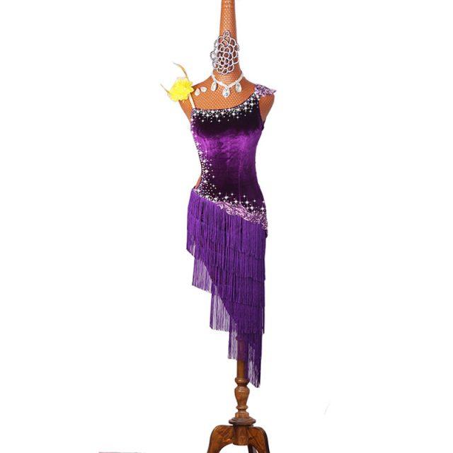 Latin Dancing Costumes  Lycra Net Top Tassel Skirt Salsa Samba Rumba