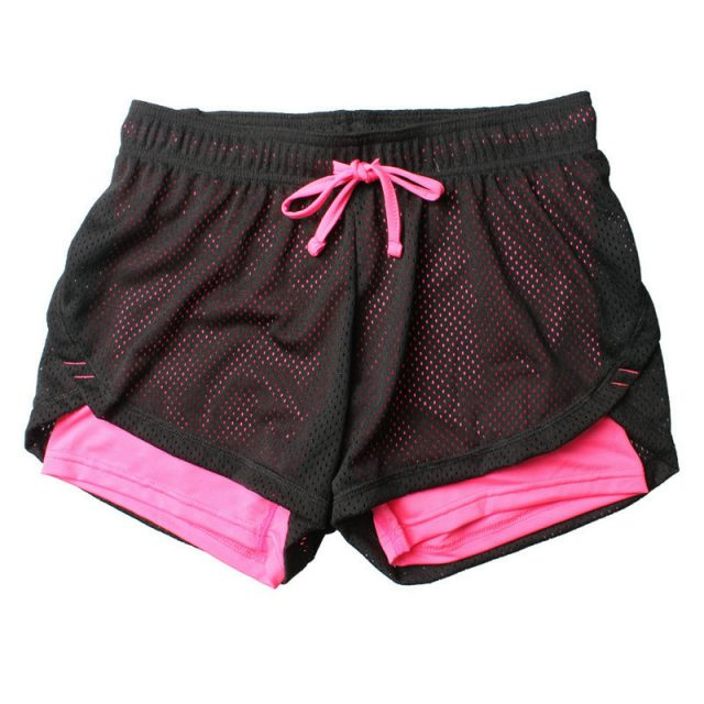 2 in 1 Shorts Mesh Breathable Pants for Running Athletic Sport Fitness Clothes Jogging