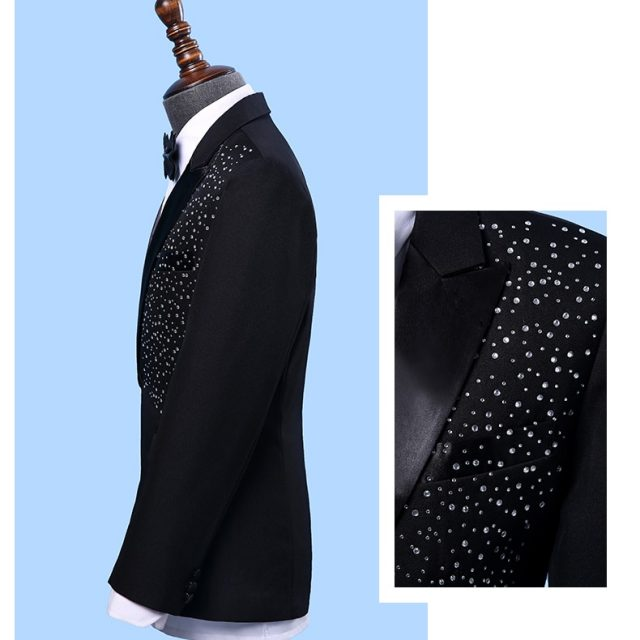 Jacket+Pants+BowTie New Fashion Brand Men Suits Black White Sequins Wedding Slim Fit