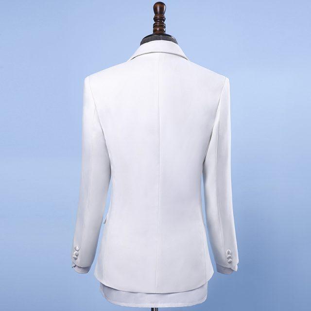 Jacket+Pants+BowTie New Fashion Brand Men Suits Black White Sequins Wedding Slim Fit