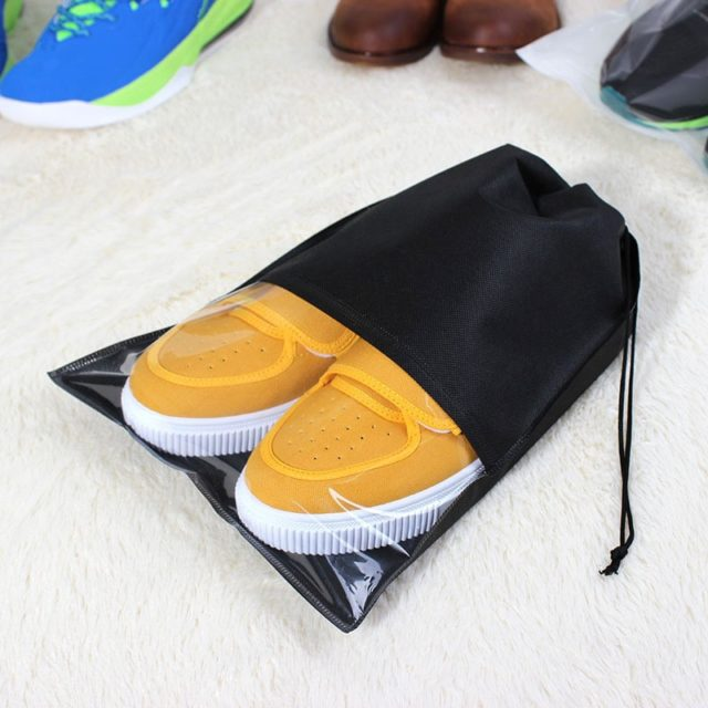 eTya Women Men Shoes Bag Non-Woven Fabric Travel Drawstring Shoes Cloth Bags Pouch Case Organizer Travel Accessories